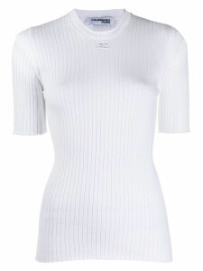 Courrèges ribbed knitted top - White