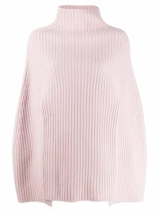 Pringle of Scotland cropped ribbed poncho - PINK