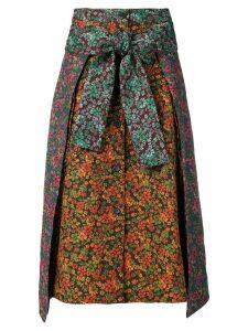 Henrik Vibskov floral print contrast skirt - ORANGE