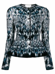 Alexander McQueen abstract pattern knitted peplum cardigan - Blue