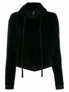Thom Krom cropped velvet hoodie - Black