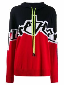 Iceberg two-tone knitted hoodie - Red
