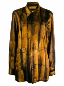 Mm6 Maison Margiela fur-print shirt - Brown