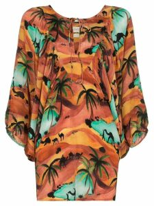 Chufy Oasis print batwing sleeve top - ORANGE