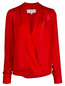 Michelle Mason wrap-style silk blouse - Red