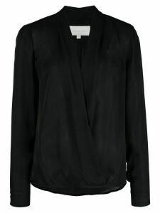 Michelle Mason wrap-style silk blouse - Black