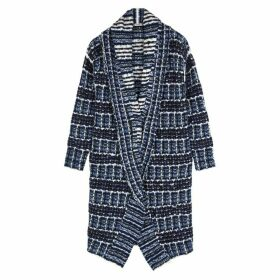 Crea Concept Blue Checked Bouclé-knit Cardigan