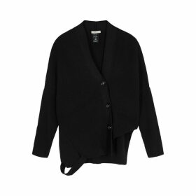 Crea Concept Black Asymmetric Ribbed-knit Cardigan