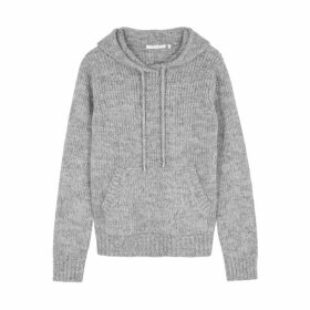 Helmut Lang Grey Hooded Wool-blend Jumper