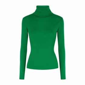 Alice + Olivia Roberta Green Roll-neck Wool Jumper