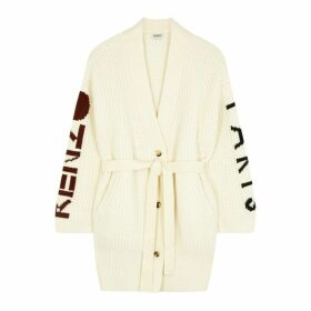 Kenzo Cream Logo Wool-blend Cardigan