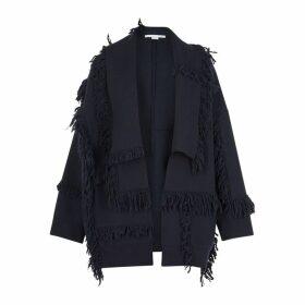 Stella McCartney Navy Fringed Wool Jacket