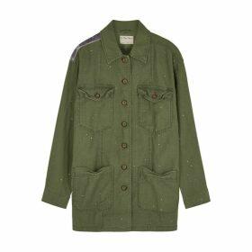 Free People Spruce Army Green Appliquéd Cotton Jacket