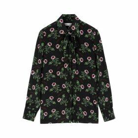 Valentino Black Floral-print Silk Blouse