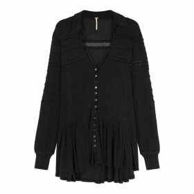 Free People Set To Stun Black Cotton-blend Top