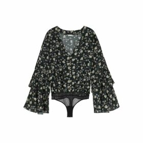Free People She's Dainty Black Floral Bodysuit
