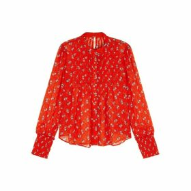 Free People Flowers In December Red Chiffon Blouse