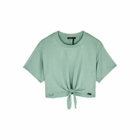 Koral Activewear Crystal Marlow Mint Ribbed Stretch-jersey Top