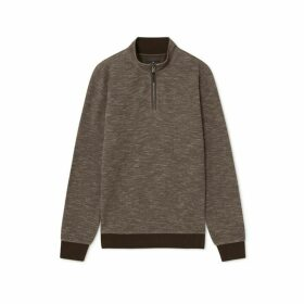 Hackett Houndstooth Jacquard Cotton Blend Half Zip Sweater