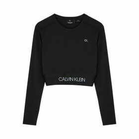 Calvin Klein Performance Black Cropped Stretch-jersey Top