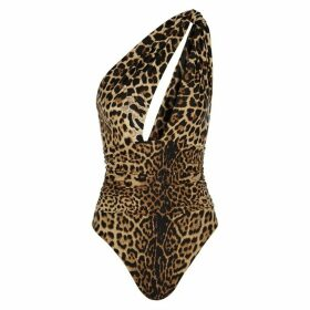 Saint Laurent Leopard Print Draped Bodysuit