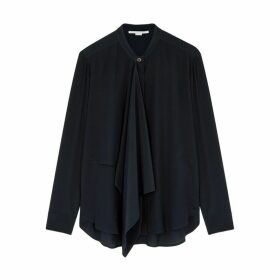 Stella McCartney Navy Draped Silk Blouse