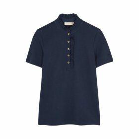 Tory Burch Deneuve Navy Cotton-blend Polo Shirt