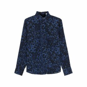 Cefinn Riley Navy Leopard-print Silk Blouse