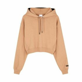 Reebok X Victoria Beckham Almond Logo-embroidered Cotton Sweatshirt