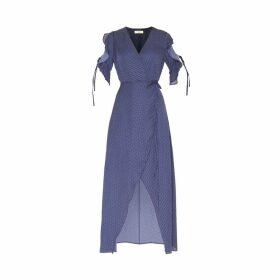 PAISIE - Polkadot Maxi Wrap Dress With Ruffle Tie Sleeves In Navy & White