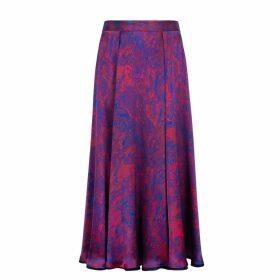 Isabel Manns - Reversible Emma Silk Satin Skirt In Fire Ocean