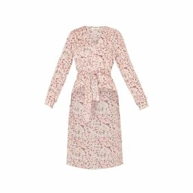 PAISIE - Floral Blouse With Dip Hem & Waist Tie In Pink Floral