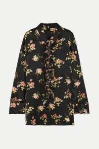 R13 - Ruffled Floral-print Silk-satin Blouse - Black