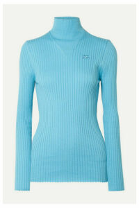 COURREGES - Ribbed Cotton Turtleneck Sweater - Light blue