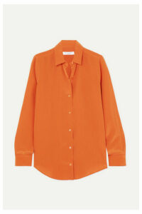 Equipment - Essential Silk Crepe De Chine Shirt - Orange
