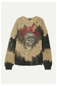 R13 - Oversized Distressed Embellished Tie-dyed Cotton-blend Terry Sweatshirt - Black