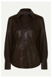 Equipment - Garcella Leather Shirt - Brown