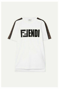 Fendi - Embroidered Flocked Cotton-jersey T-shirt - White