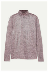 Paul & Joe - Metallic Knitted Turtleneck Sweater - Purple