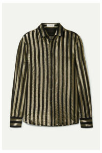 SAINT LAURENT - Striped Metallic Silk-blend Chiffon Shirt - Black