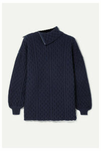Loewe - Zip-detailed Cable-knit Wool-blend Turtleneck Sweater - Navy