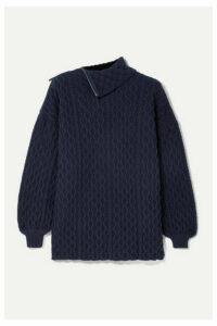 Loewe - Zip-detailed Cable-knit Wool-blend Turtleneck Sweater - Navy