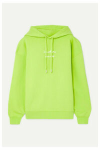 Acne Studios - Fyola Neon Printed Cotton-jersey Hoodie - Bright green