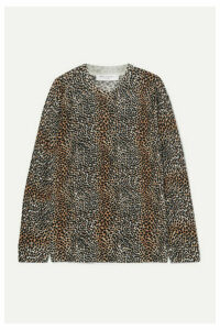 EQUIPMENT - Raydon Leopard-print Wool Sweater - Brown
