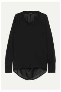 Ann Demeulemeester - Faille-trimmed Cotton-jersey Top - Black