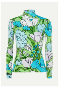 Richard Quinn - Floral-print Stretch-velvet Turtleneck Top - Blue