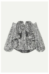 Halpern - Off-the-shoulder Ruffled Sequined Tulle Top - Silver