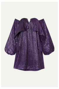 Halpern - Off-the-shoulder Ruffled Lurex Mini Dress - Purple