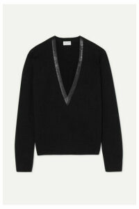 SAINT LAURENT - Leather-trimmed Cashmere Sweater - Black