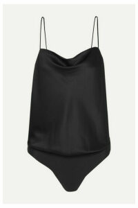 Cami NYC - The Axel Draped Stretch-silk Charmeuse And Stretch-jersey Thong Bodysuit - Black
